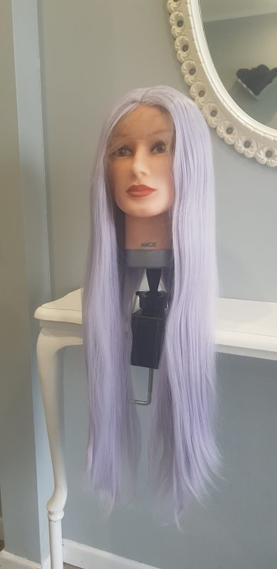 Wig Synthetic Lace Front Long Silver/Violet